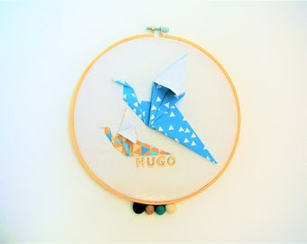 drum birds name to personalize, origami decoration room boy