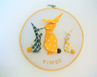 drums rabbit origami, yellow, grey and black, name to personalize