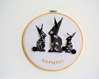 drum rabbit origami, customize, children's room decor
