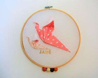 drum bird origami, customize, decoration baby child's room