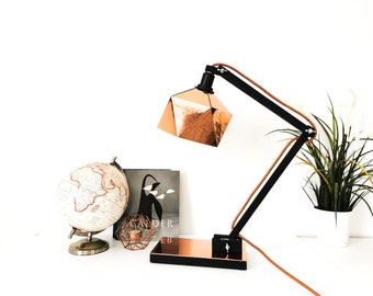 Copper and black origami desk lamp - Leewalia - lighting - design lamp - working lamp - interior decoration - Scandinavian