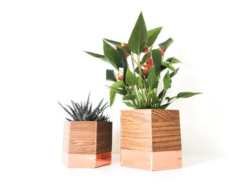 set of two geo pot caches oak and copper (pink gold) - interior decoration - plants - flower pot - Leewalia - green lovers - nature