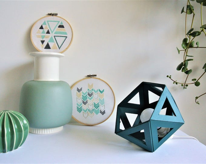 Featured listing image: small teal Origami lamp