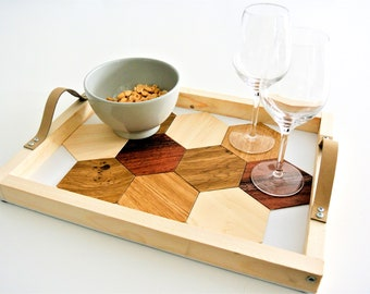 Aperitif tray with under-glasses integrated BOIS - Leewalia - table wares - serving tray - interior decoration - design object