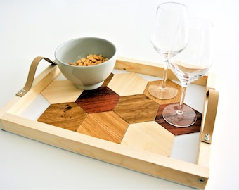 appetizer tray with slot glasses included wood