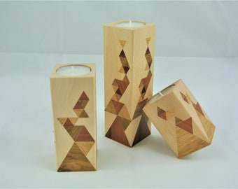 set of three wooden candle holders, inlay