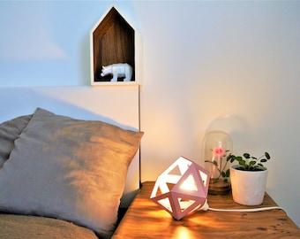 Small blush pink Origami lamp