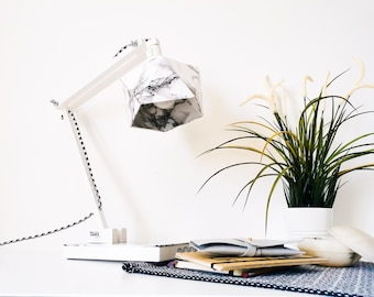 Marble and white origami desk lamp - Leewalia - lighting - design lamp - working lamp - interior decoration - Scandinavian
