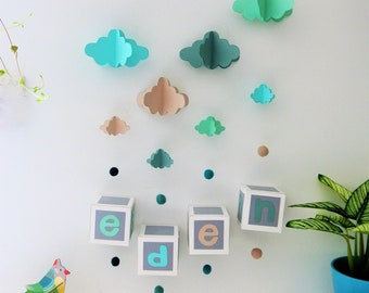 Mobile mural NUAGES mint, water green, beige to customize - Leewalia - baby child bedroom - driftwood - birth - wall decoration