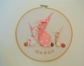 drums rabbit origami, pink, beige, gray, first name to personalize