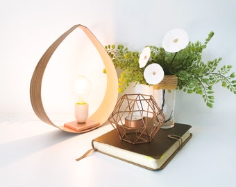 DROP oak and pink lamp - 2 sizes - Leewalia - table lamp - lighting design - interior decoration - oak - bedside lamp