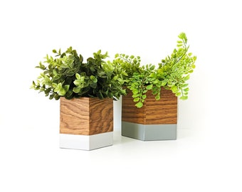 set of two geo oak and grey cameo caches - interior decoration - plants - flower pot - Leewalia - green lovers - nature
