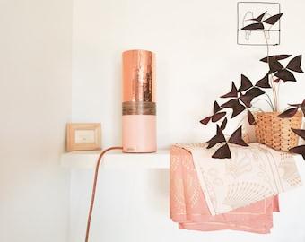 TUBO copper tube lamp, pink and rustic wood edge