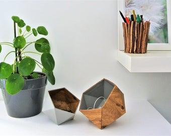 origami boxes wood oak and light grey