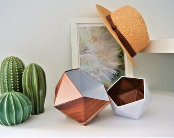 origami boxes wood mahogany and white