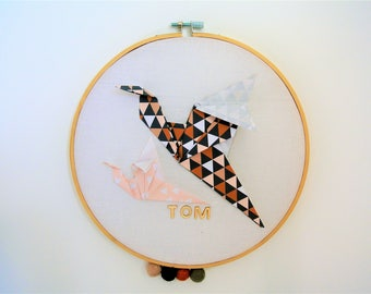 drum bird origami, personalize, baby room decoration