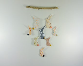 Mobile mural beige rabbit, peach, black origami - Leewalia - interior decoration - wall decoration - birth - baby child bedroom