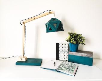 Wooden and duck blue origami desk lamp - Leewalia - lighting - design lamp - working lamp - interior decoration - Scandinavian