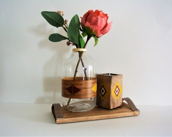 Candlestick and vase Bohemian patterns, warm colors