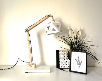Wood and white origami office lamp - Leewalia - lighting - design lamp - working lamp - interior decoration - Scandinavian