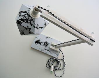 Marble and white origami desk lamp - Leewalia - lighting - design lamp - working lamp - interior decoration - Scandinavian