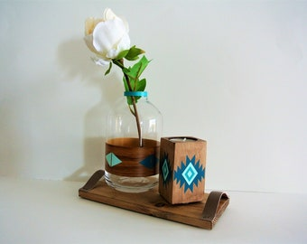 Candlestick and vase Bohemian patterns, shades of blue