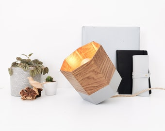 SPOT oak and grey lamp - Leewalia - table lamp - bedside lamp - lighting design - interior decoration - geometric shape