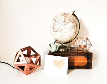 Small lamp Origami copper rose gold - Leewalia - bedside lamp - booster lamp - design lamp - graphic lamp - geometric lamp