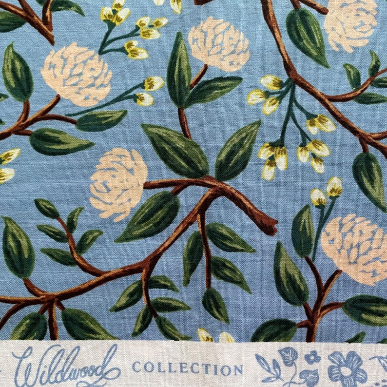 Half Yard RIFLE PAPER Co Fabric Rifle Paper Co Peonies in Dusty by the Yard Rifle Paper Wildwood Peonies Dusty Blue Rifle Paper Co FQ