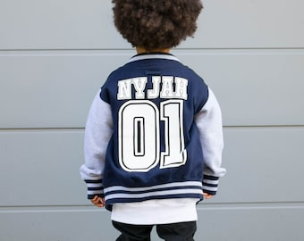 253bf550c Baseball Style Kids Varsity Jacket, Custom Letterman Name & Number College Football  Jacket for Boy or Girl
