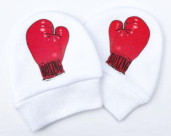 Scratch Mittens, Baby Mittens, Boxing Gloves Boxer, Newborn Cotton Mitts, No Scratch, Boxing Baby Gift, Funny Baby Gift, Baby Shower Gift