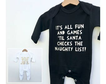 Christmas Naughty List Baby Romper, Xmas Romper Suit, Xmas Baby One Piece, Baby Stocking Filler, Funny Xmas Baby Gift, Christmas Baby Outfit