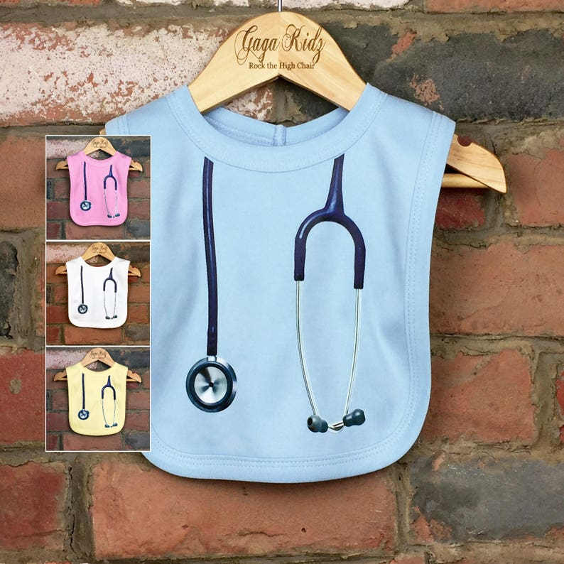 ca02d0f81bea5 Stethoscope Baby Bibs, New Baby Shower Gift for a Doctor or Nurse, Funny  Medical Themed Clothes for Infant