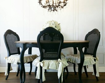 Beau French Glam Black Drexel Dining Table U0026 FOUR Skirted Ruffle Caneback Chairs  Chic Kitchen Southern California
