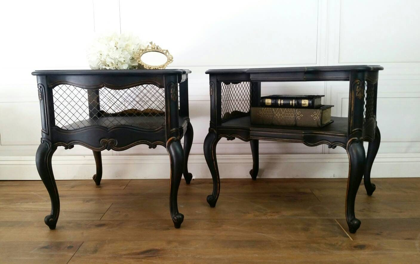 Unavailable Vintage Weiman Black Shelf End Tables Nightstands Pair Glam Hollywood French Provincial Bedside Boudoir Accent
