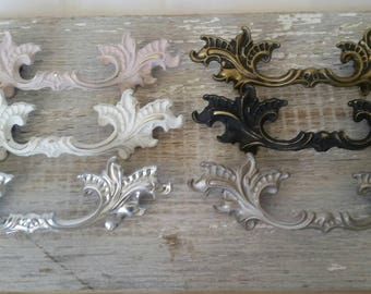 """1 available! Choose any of the six finishes! French Provincial Dixie Handle Pull Hardware Drawer Vanity Desk 2.5"""" hole to hole Replacement"""