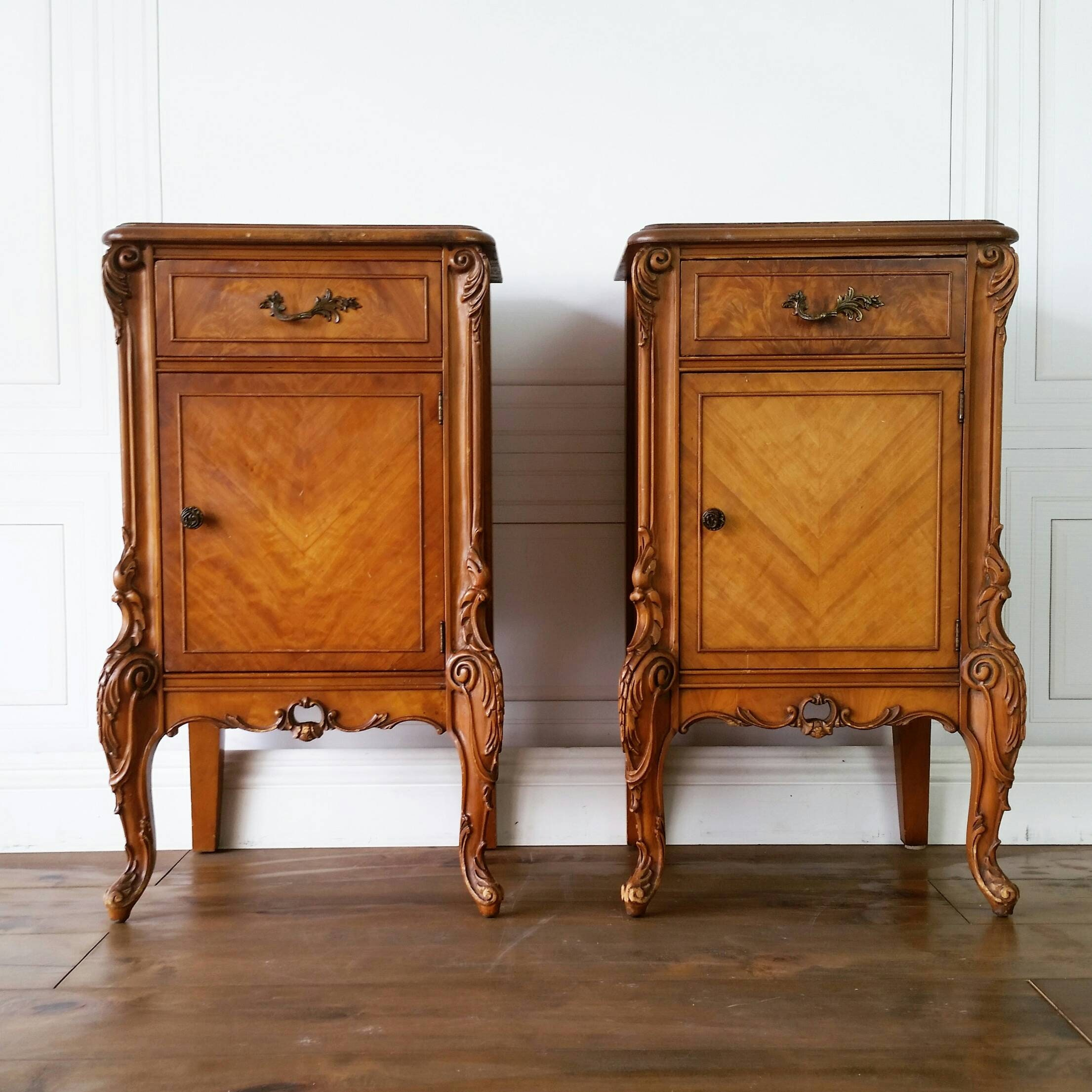Pending Kristen Free Shipping Very Rare Antique French Nightstands Pair Glam Hollywood Louis Provincial Bedside Boudoir Accent Cabinet