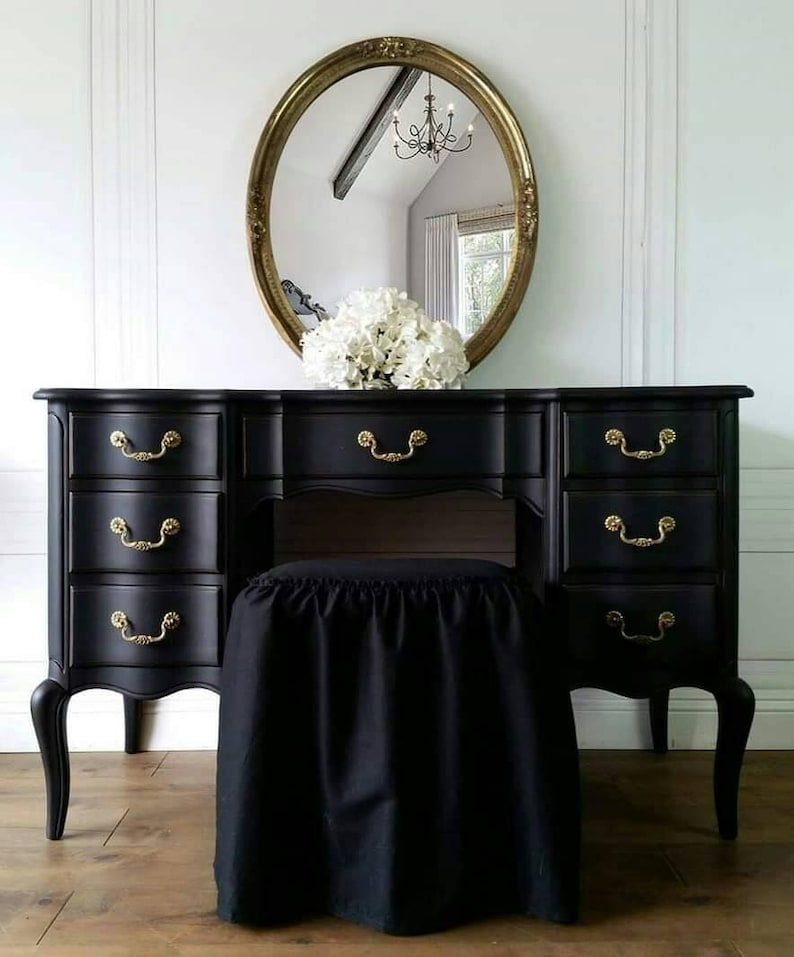 Free Shipping Rare French Vintage Vanity Boudoir Black Glam Mirror Provincial Hollywood Mancini Make-Up Table Desk Ruffled Bench Pending