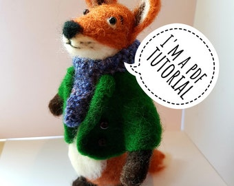 PDF to make a Posable fox-printable needle felting tutorial with equipment list-Mary Jane Lillie Felting, Workshops and  Supplies