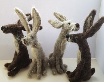 Kit to make ONE needle felted hare with easy to follow pdf instructions - DIY - GIFT