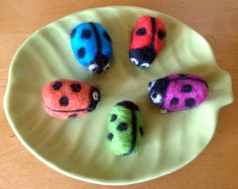 Needle felted ladybird brooch or pin, made to order using soft merino wool in a variety of colours