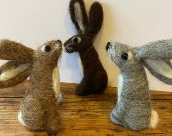 Kit to make three needle felted rabbit brooches with full colour, easy to follow PDF instructions - DIY - GIFT