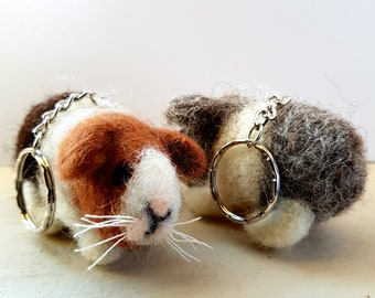 Kit to make two needle felted Guinea Pig keyrings using British wool tops, with easy to follow PDF instructions - DIY - gift