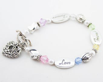 Vintage Silver Tone Flower Heart Charm Pearly Clear Lucite Beaded Friendship Bracelet Love Friend Forever