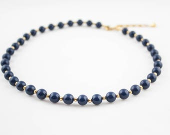 Vintage MONET Signed Dark Blue Gold Beaded Necklace Costume Jewelry