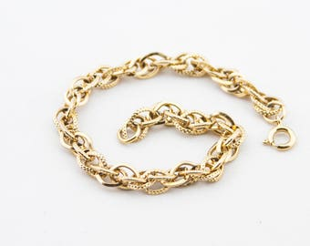 Vintage Gold Tone Textured Metal Chain Link Bracelet