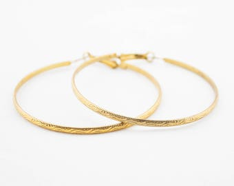 Vintage Big Gold Tone Textured Metal Hoop Earrings