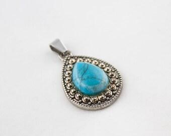 Vintage Silver Tone Faux Turquoise Tear Drop Pendant