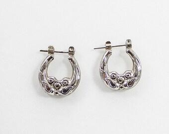 Vintage Silver Tone Floral Little Hoop Earrings