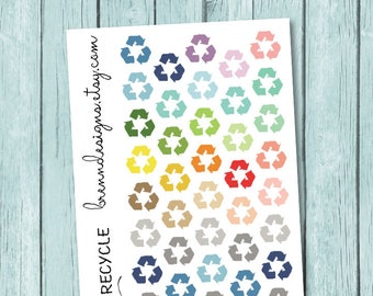 Recycling Day Stickers, Household Cleaning Icons, Chore Reminders, Icon Planner Stickers